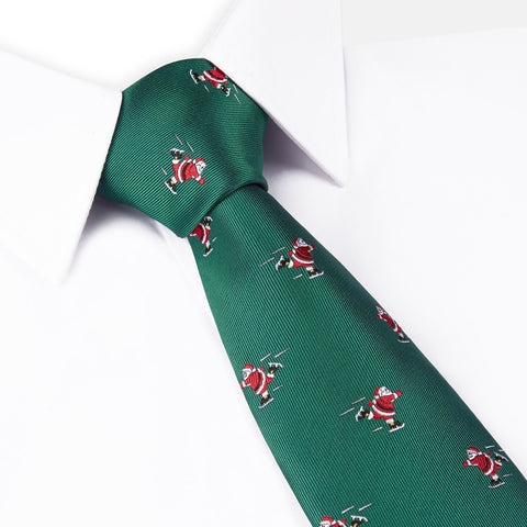 Ice Skating Santa Green Woven Tie