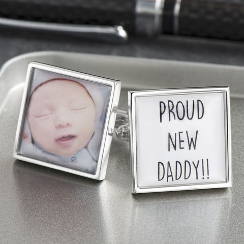 Personalised Proud New Daddy Cufflinks