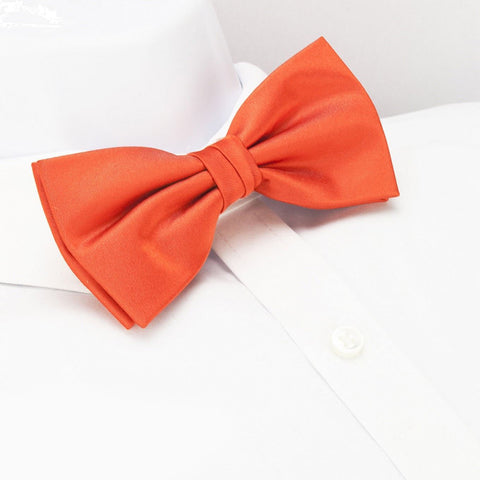Pre-Tied Plain Orange Silk Bow Tie