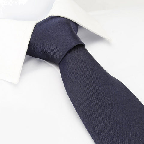 Plain Navy Blue Silk Tie