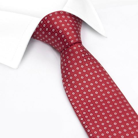 Red & White Classic Floral Spot Silk Tie