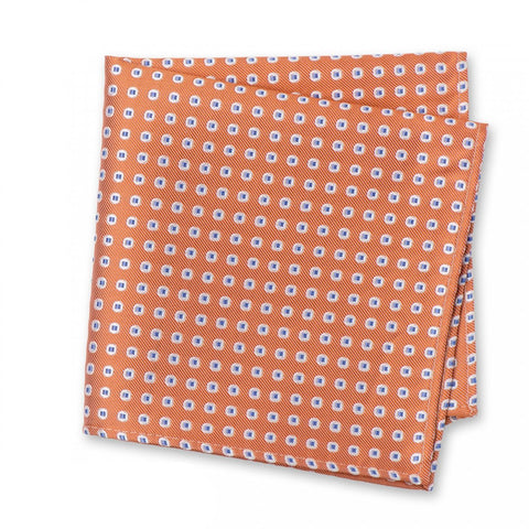 Orange & Blue Classic Oxford Spot Silk Handkerchief
