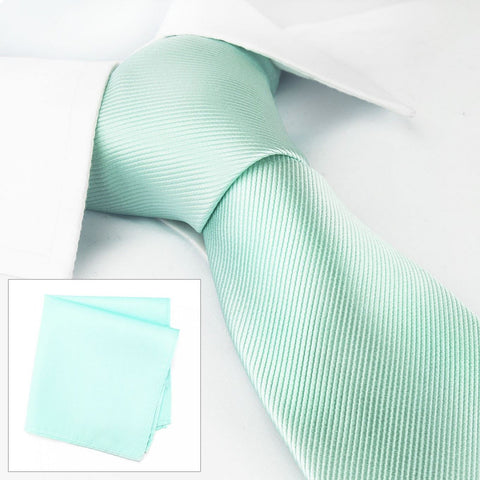 Plain Cyan Woven Silk Tie & Handkerchief Set