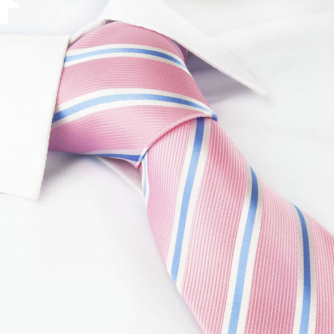 Pink Woven Silk Tie with Blue and White Stripes