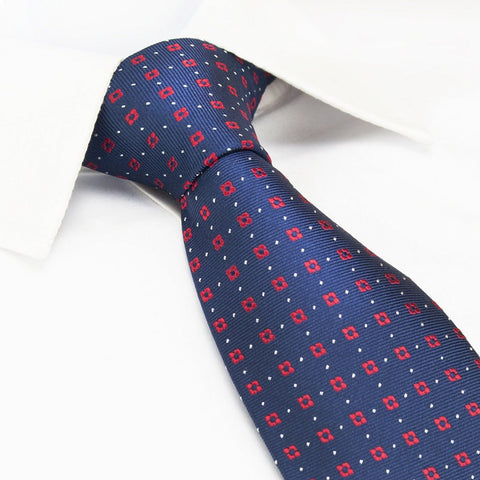 Navy & Red Flower Spot Silk Tie