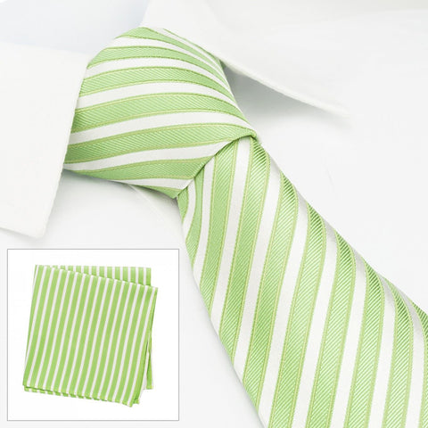 Green & White Striped Woven Silk Tie & Handkerchief Set