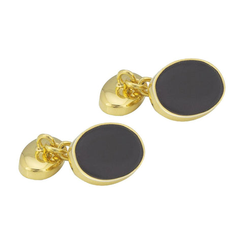 Sterling Silver Gold Plated Onyx Oval Cufflinks