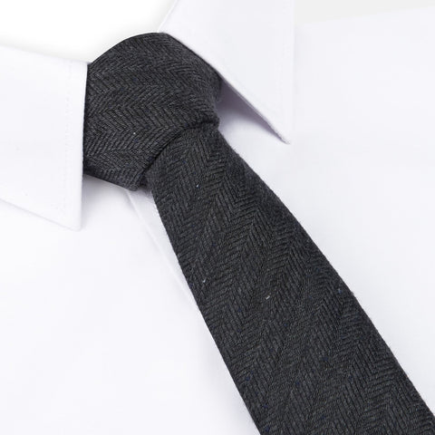 Charcoal Herringbone Textured Slim Tie