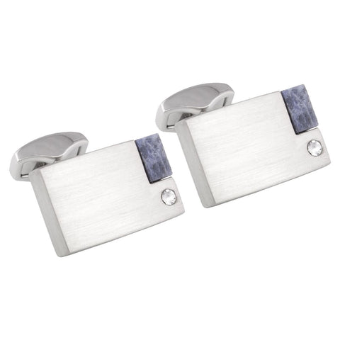 Brushed Rhodium Cufflinks with White Crystal & Sodalite Stone