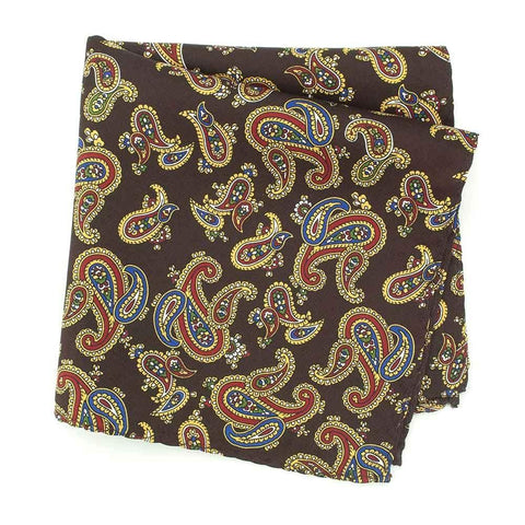 Brown Large Paisley Silk Handkerchief
