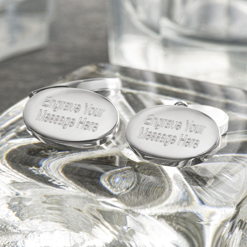 Engraved Cufflinks, Sterling Silver Double Sided Ovals