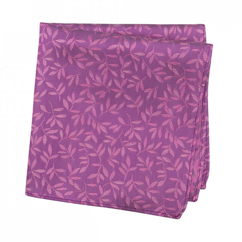 Plum And Magenta Jacquard Leaf Silk Handkerchief