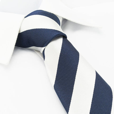 Silver & Navy Woven Striped Silk Tie