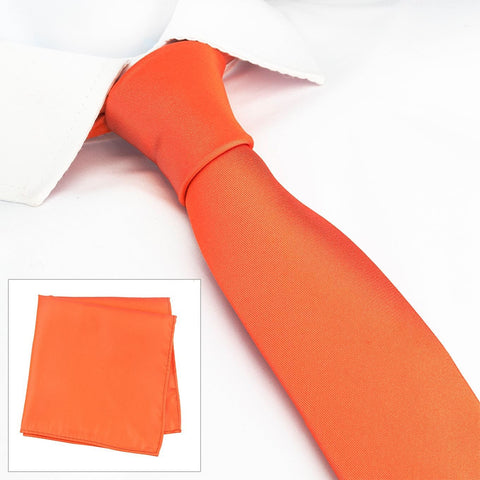 Plain Orange Slim Silk Tie & Handkerchief Set