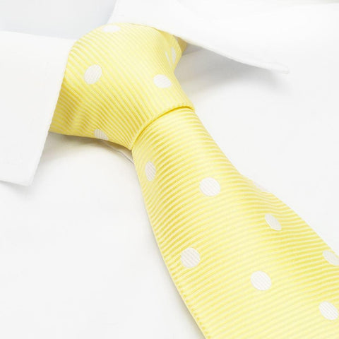 Yellow Silk Tie With White Polka Dots