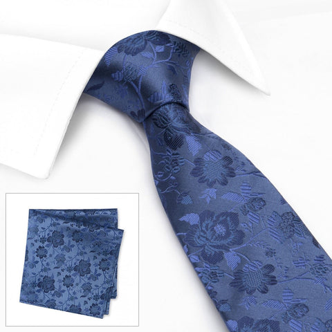 Navy Blue Floral Woven Silk Tie & Handkerchief Set