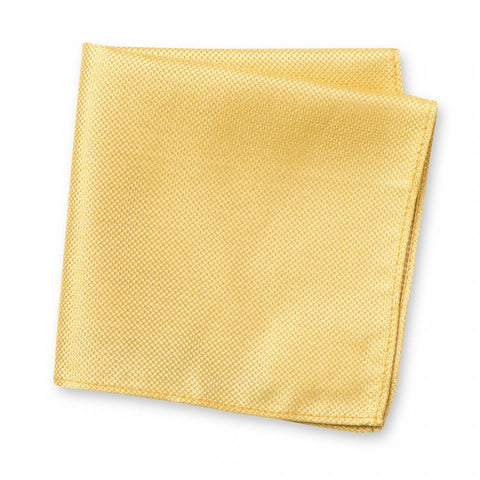 Pale Gold Silk Plain Classic Textured Handkerchief