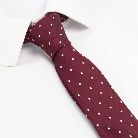 Wine Polka Dot Slim Silk Tie