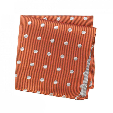 Burnt Orange Silk Handkerchief With White Polka Dots