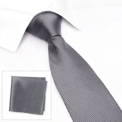 Grey Herringbone Silk Tie & Handkerchief Set