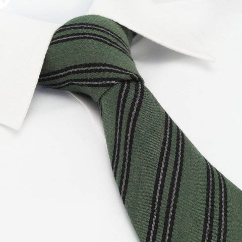 Green Club Stripe Wool Mix Tie