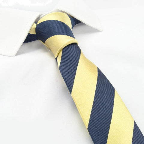 Gold & Navy Woven Striped Slim Silk Tie