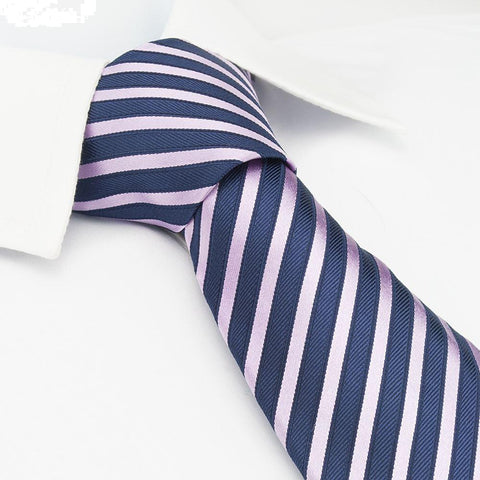 Navy & Pink Striped Woven Silk Tie