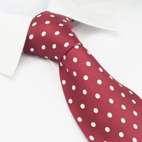 Red Printed Silk Tie With White Polka Dots