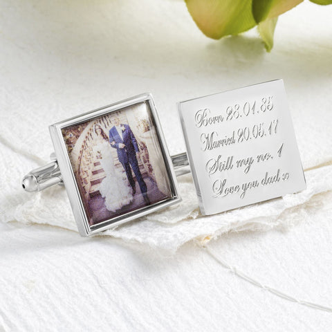 Photo Engraved Square Wedding Cufflinks