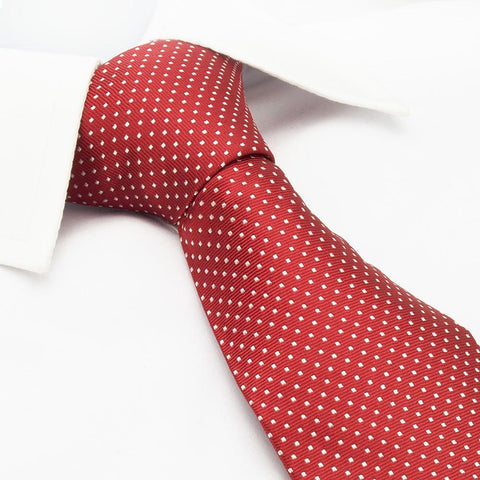 Red Neat Pin Dot Silk Tie