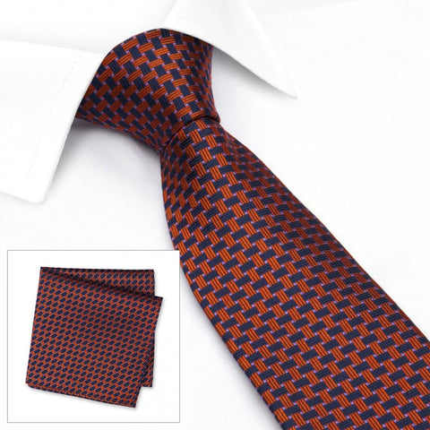 Navy & Orange Lattice Silk Tie & Handkerchief Set