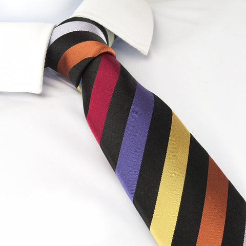 Multi Coloured Striped Slim Silk Tie