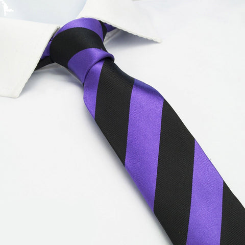 Purple & Black Striped Slim Silk Tie