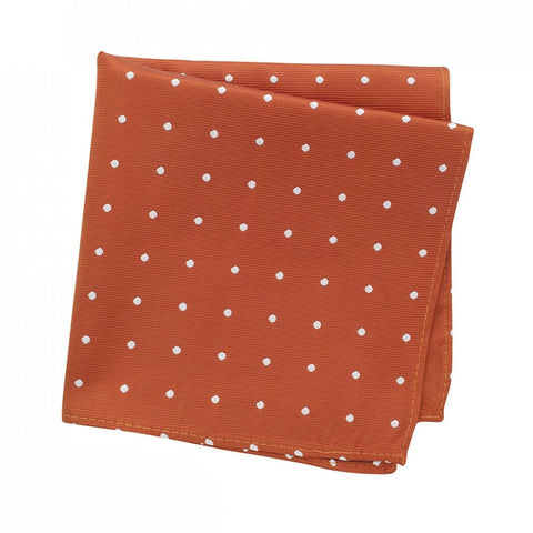 Burnt Orange Polka Dot Woven Silk Handkerchief