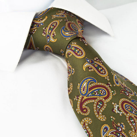 Country Green Silk Tie with Large Paisley Design