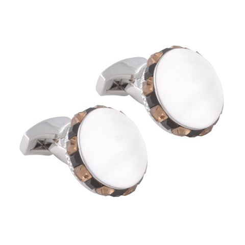 Light Brown and Black Circular Swarovski Cufflinks