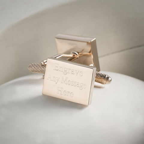 Engraved Cufflinks, Rose Gold Plated Rectangle