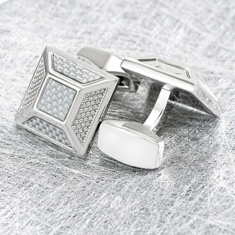 Silver Square Textured Cufflinks