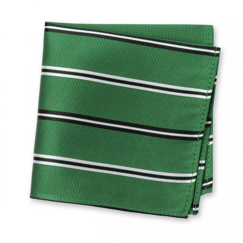 Emerald Green Classic Club Stripe Silk Handkerchief