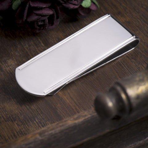 Cut Lined Silver Money Clip