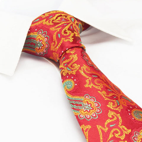 Bright Red Paisley Luxury Silk Tie