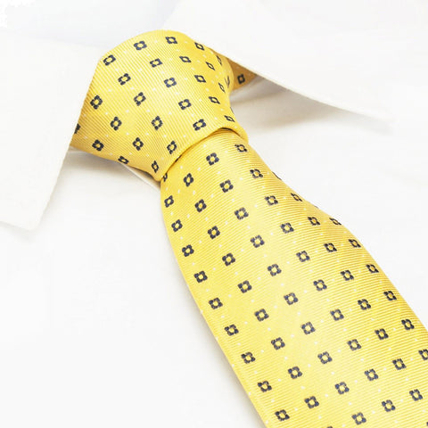 Yellow & Navy Flower Spot Silk Tie