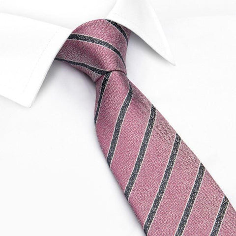 Pink and Black Silk Textured Stripe Classic Tie