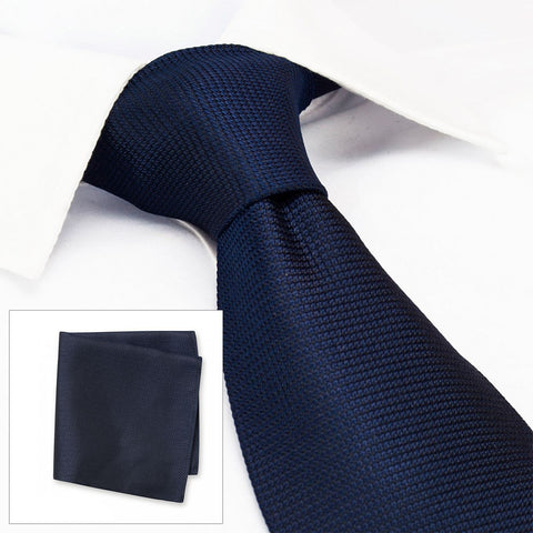 Navy Silk Plain Classic Textured Tie & Handkerchief Set