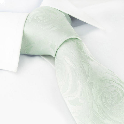 Pastel Green Rose Luxury Woven Silk Tie