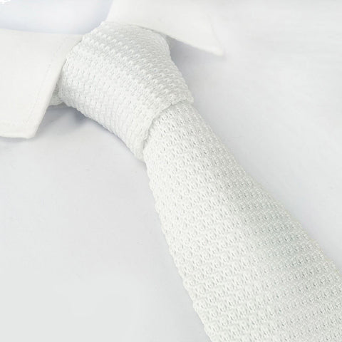 White Knitted Square Cut Tie
