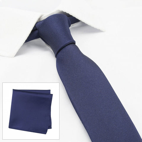 Plain Navy Slim Silk Tie & Handkerchief Set