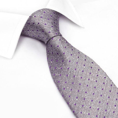 Grey & Purple Textured Spot Silk Tie