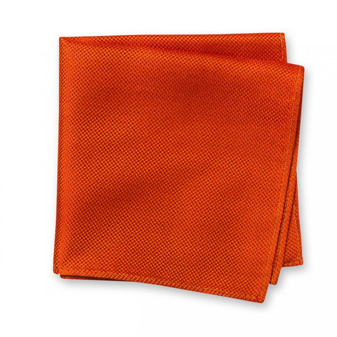 Burnt Orange Silk Plain Classic Textured Handkerchief