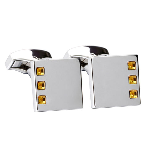 Orange Swarovski Crystal Square Cufflinks
